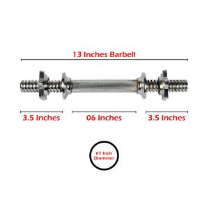 BARBELL STANDARD APOLLO 1 INCH DIAMETER WEIGHT PLATE CHROME BAR 13 INCHES LENGTH