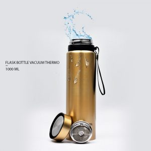 FLASK BOTTLE VACUUM THERMO HOT AND COLD BOTTLE WB-31 - 1000ML CAPACITY - GOLDEN