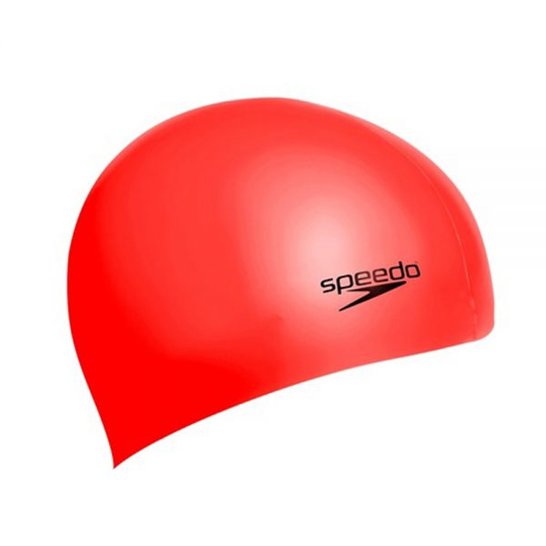 SPEEDO SWIMMING CAP SILICONE PLAIN MOULDED SWIM CAP ADULT – RED (1)