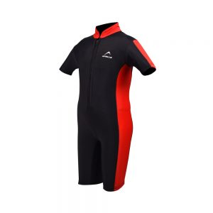 BOYS SWIMMING SUIT BOYS ONE PIECE RASH GUARD SWIMSUIT SHORT SLEEVE SUN PROTECTION SUIT APOLLO 91SB90 - BLACK/RED