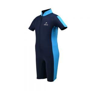 BOYS SWIMMING SUIT BOYS ONE PIECE RASH GUARD SWIMSUIT SHORT SLEEVE SUN PROTECTION SUIT APOLLO 91SB90 - NAVY BLUE