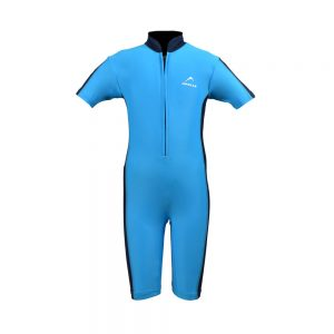 BOYS SWIMMING SUIT BOYS ONE PIECE RASH GUARD SWIMSUIT SHORT SLEEVE SUN PROTECTION SUIT APOLLO 91SB90 - SKY BLUE