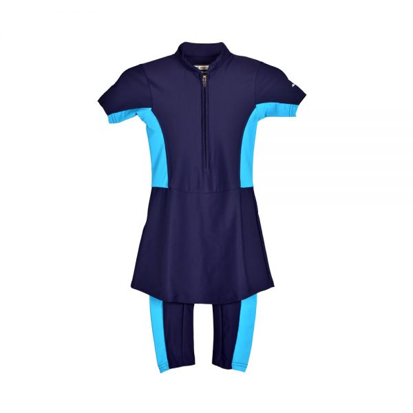 GIRLS SWIMMING SUIT FRILL GIRLS ONE PIECE RASH GUARD SWIMSUIT SHORT SLEEVE SUN PROTECTION SUIT APOLLO 91SG91 - NAVY BLUE