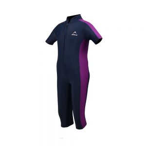 GIRLS SWIMMING SUIT GIRLS ONE PIECE RASH GUARD SWIMSUIT SHORT SLEEVE SUN PROTECTION SUIT APOLLO 91SG90 - NAVY BLUE