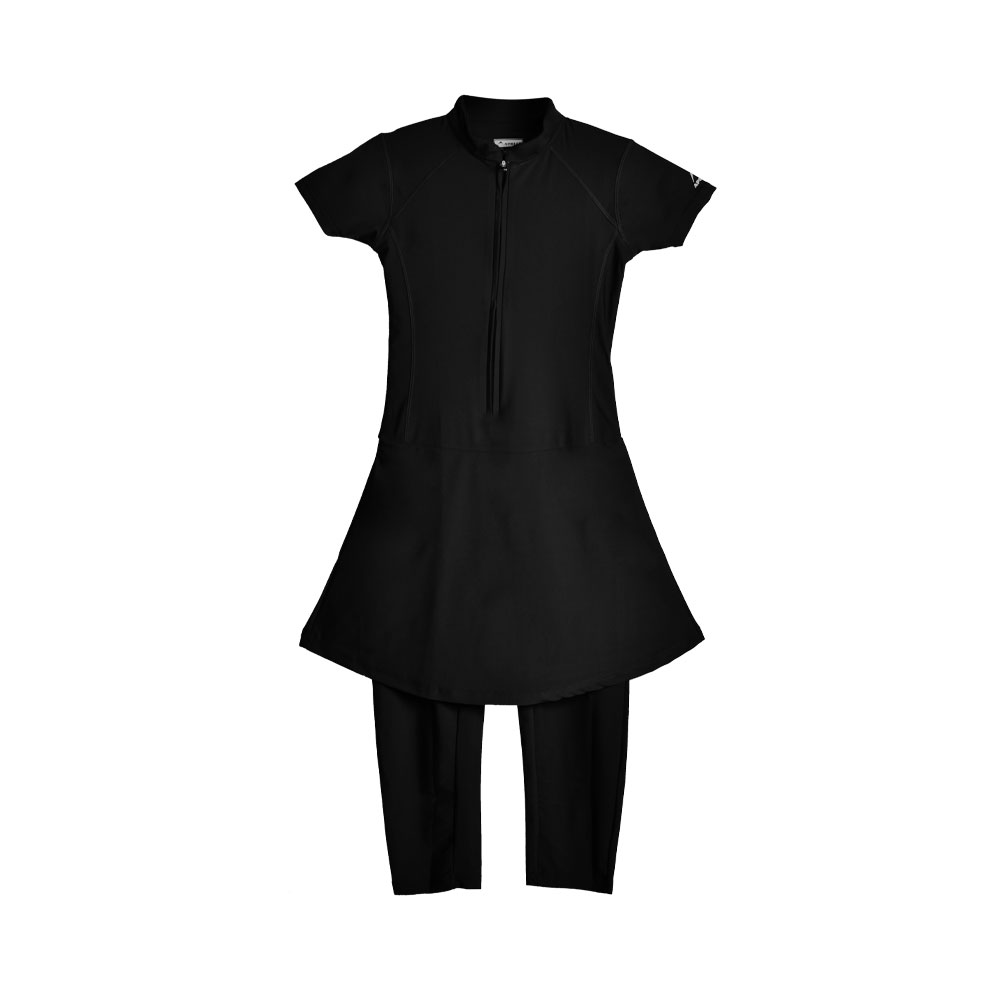 WOMENS SWIMMING SUIT FRILL WOMENS ONE PIECE RASH GUARD SWIMSUIT SHORT SLEEVE SUN PROTECTION SUIT APOLLO 91SW91 - BLACK