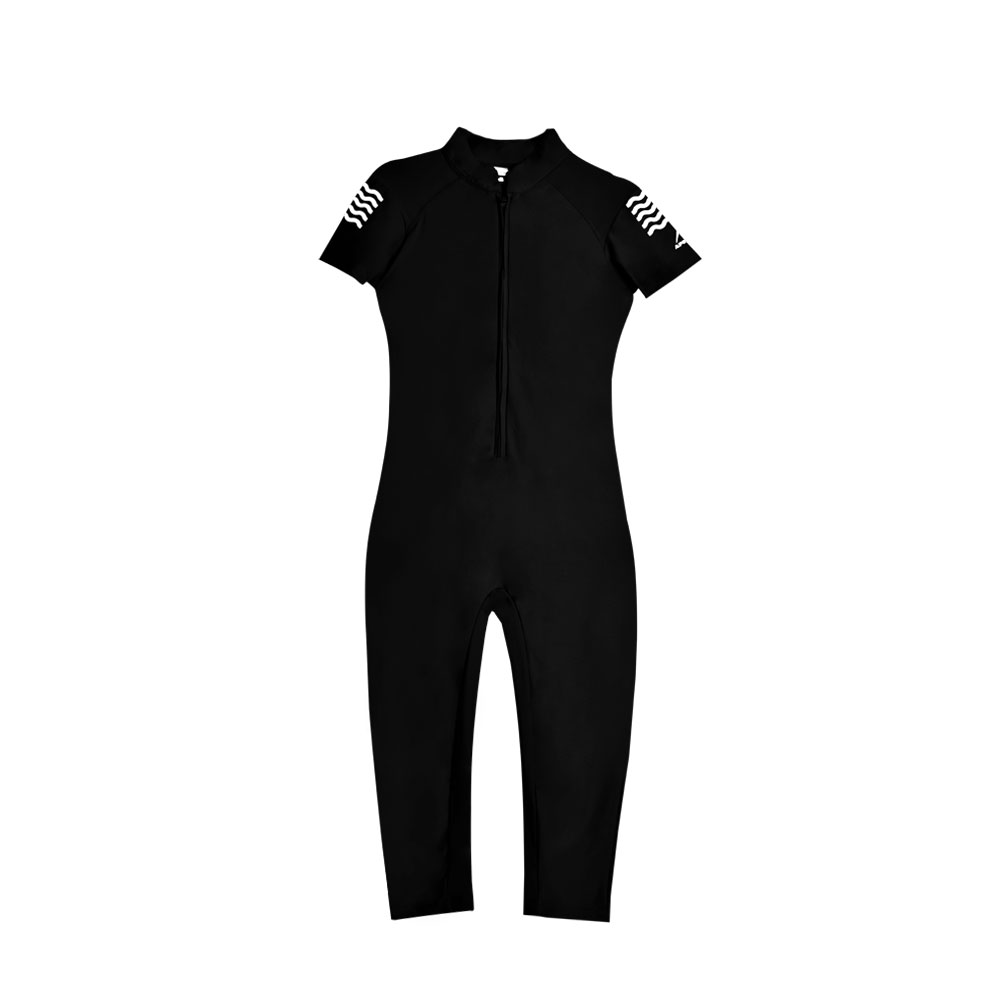 WOMENS SWIMMING SUIT WOMENS ONE PIECE RASH GUARD SWIMSUIT SHORT SLEEVE SUN PROTECTION SUIT APOLLO 91SW90 - Black
