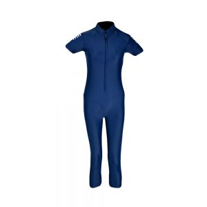 WOMENS SWIMMING SUIT WOMENS ONE PIECE RASH GUARD SWIMSUIT SHORT SLEEVE SUN PROTECTION SUIT APOLLO 91SW90 - NAVY BLUE