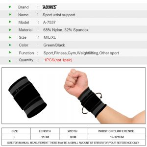 AOLIKES 7537 WRIST SUPPORT WITH ELASTIC STRAP - BLACK