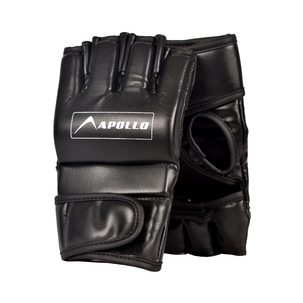 APOLLO 9BMR30 REXINE MMA GLOVES - BLACK