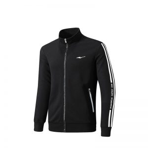 ERKE MENS SPORTS JACKET RUNNING TRAINING CASUAL FULL ZIP UPPER 11219314267 - BLACK