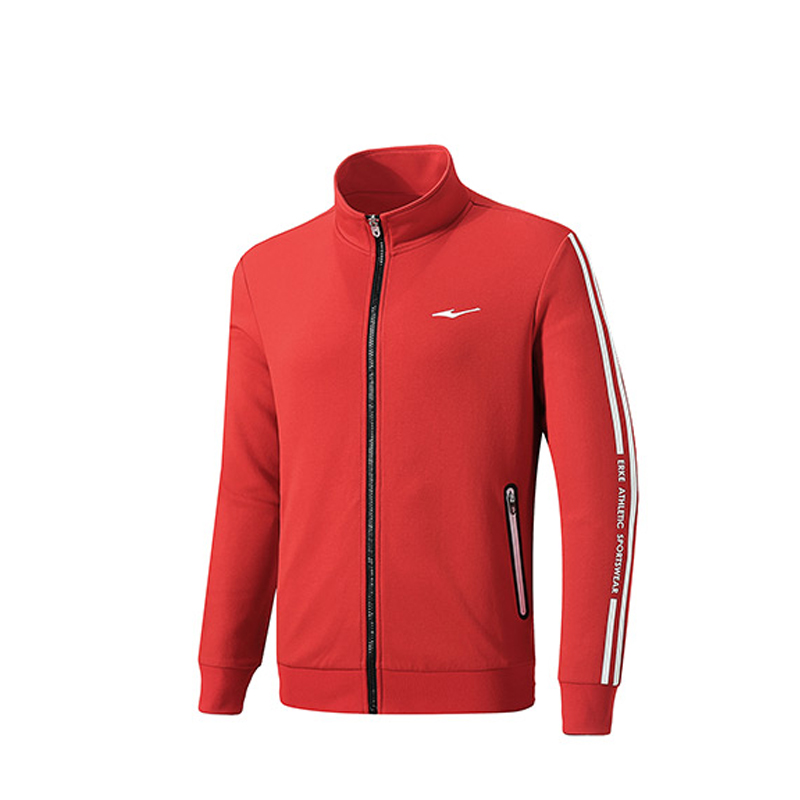 ERKE MENS SPORTS JACKET RUNNING TRAINING CASUAL FULL ZIP UPPER 11219314267 - RED