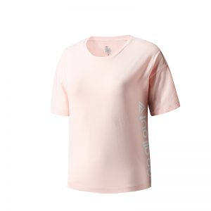 ERKE WOMENS CREW NECK T SHIRT RUNNING AND TRAINING KNITTED TEE 12219219384 - PINK