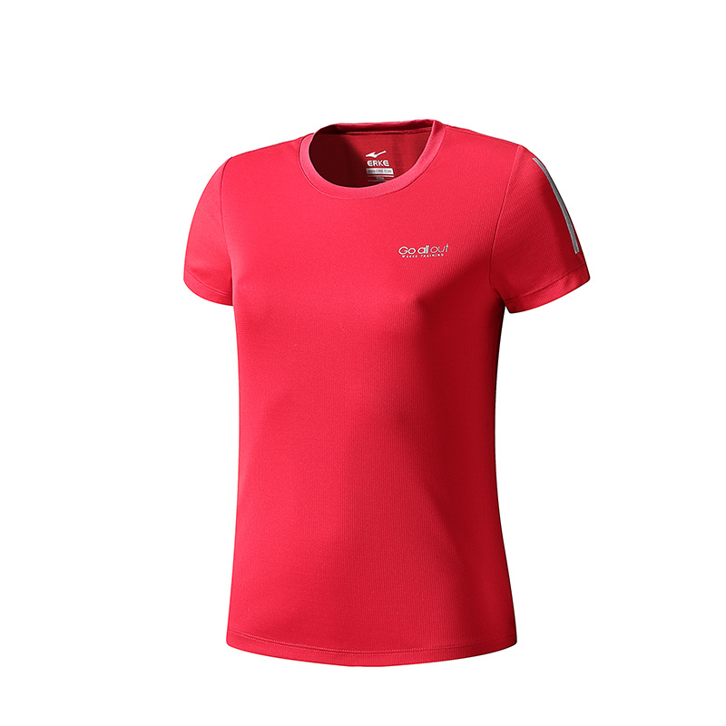 ERKE WOMENS CREW NECK T SHIRT RUNNING AND TRAINING TEE 12219219472 - RED