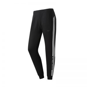 ERKE WOMENS SPORTS CROPPED PANT RUNNING TRAINING CASUAL TROUSER 12219357347 - BLACK