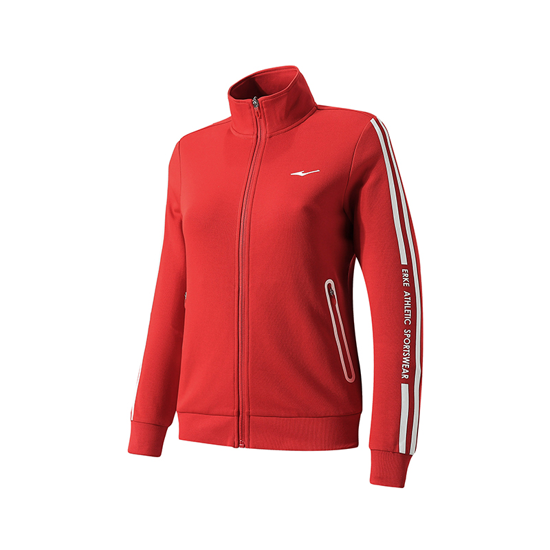 ERKE WOMENS SPORTS JACKET RUNNING TRAINING CASUAL FULL ZIP UPPER 12219314349 - RED