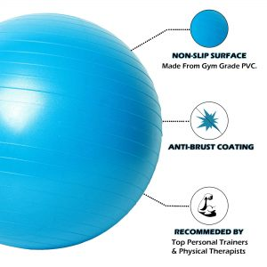 MDBUDDY MD1225 ANTI BRUST YOGA EXERCISE STABILITY GYM BALL – BLUE 65CM