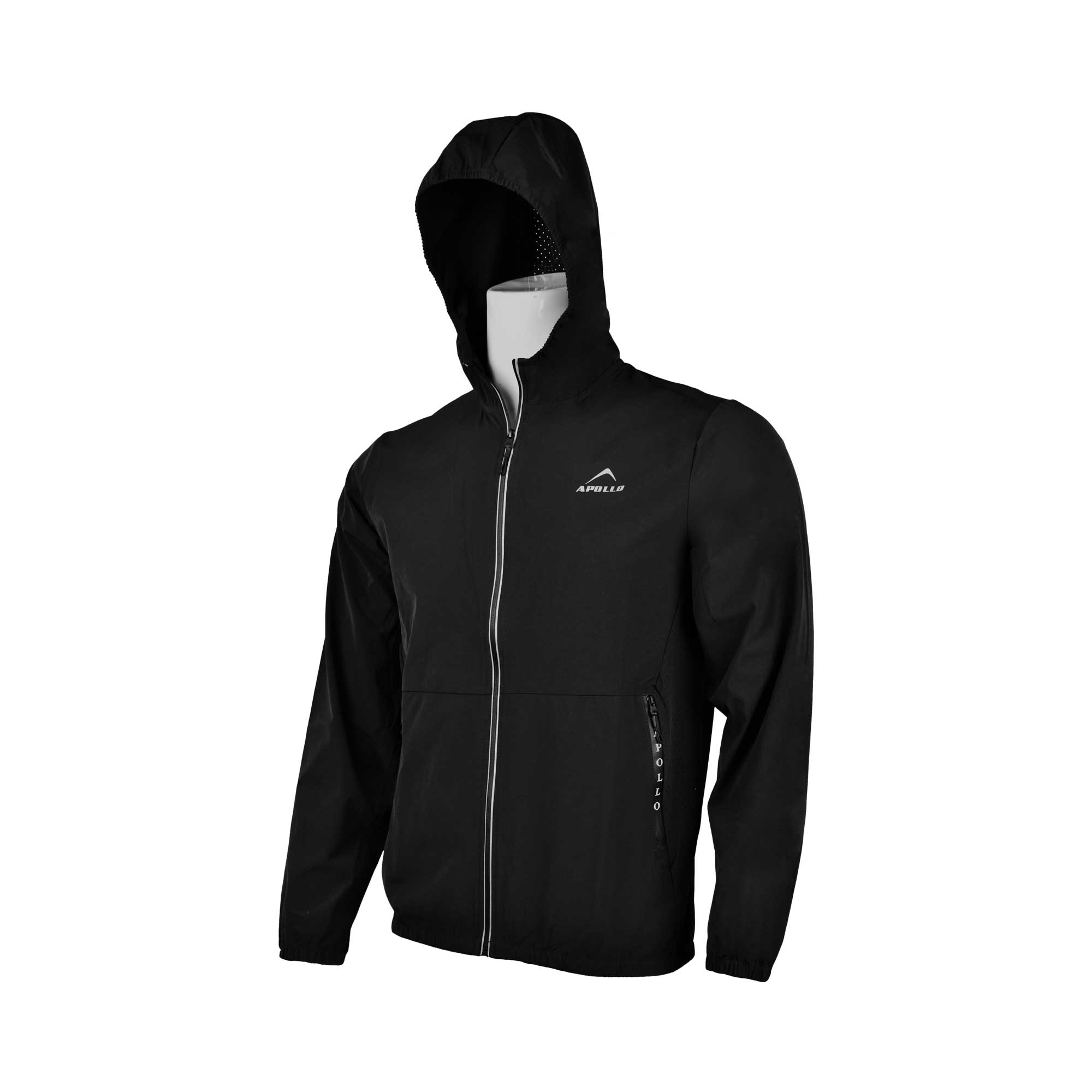 MENS SPORTS CASUAL RUNNING TRAINING LIGHT WEIGHT EARLY WINTERS MICRO TWILL UPPER HOODIE APOLLO 93M350H - BLACK