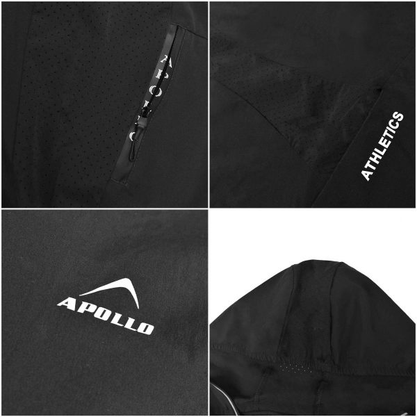 MENS SPORTS CASUAL RUNNING TRAINING LIGHT WEIGHT EARLY WINTERS MICRO TWILL UPPER HOODIE APOLLO 93M350H – GRAY (1)
