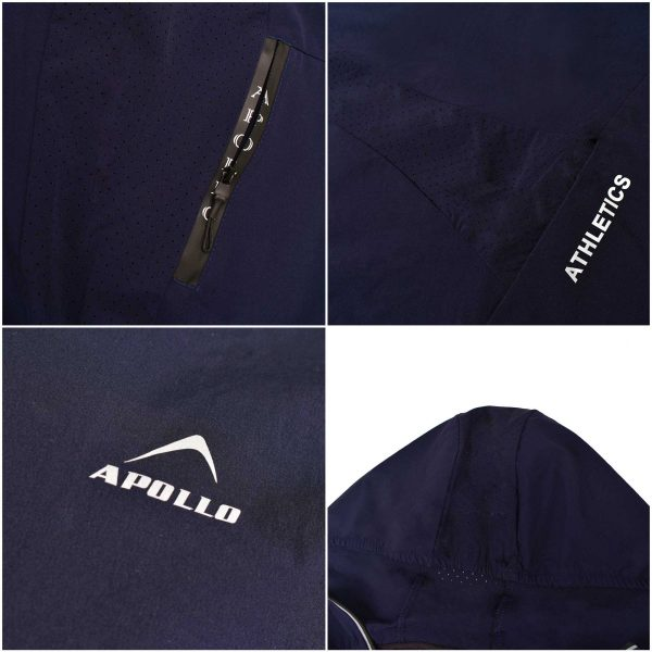 MENS SPORTS CASUAL RUNNING TRAINING LIGHT WEIGHT EARLY WINTERS MICRO TWILL UPPER HOODIE APOLLO 93M350H – NAVY BLUE (1)