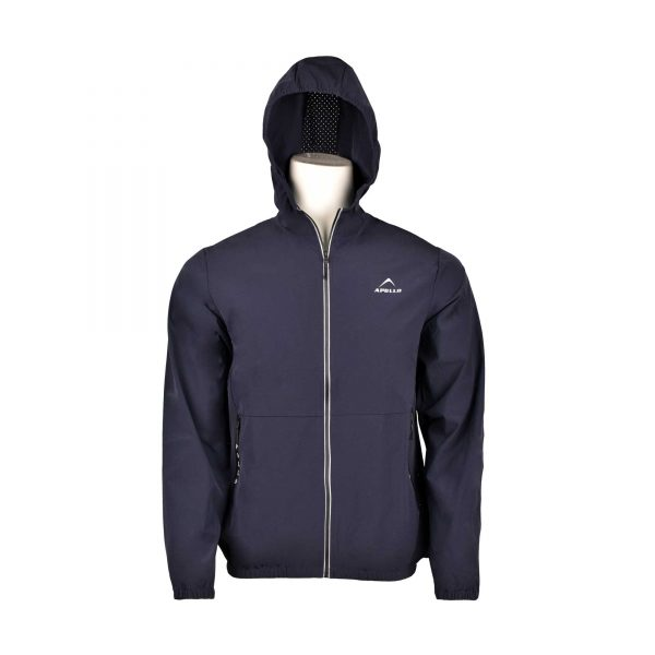 MENS SPORTS CASUAL RUNNING TRAINING LIGHT WEIGHT EARLY WINTERS MICRO TWILL UPPER HOODIE APOLLO 93M350H – NAVY BLUE (7)
