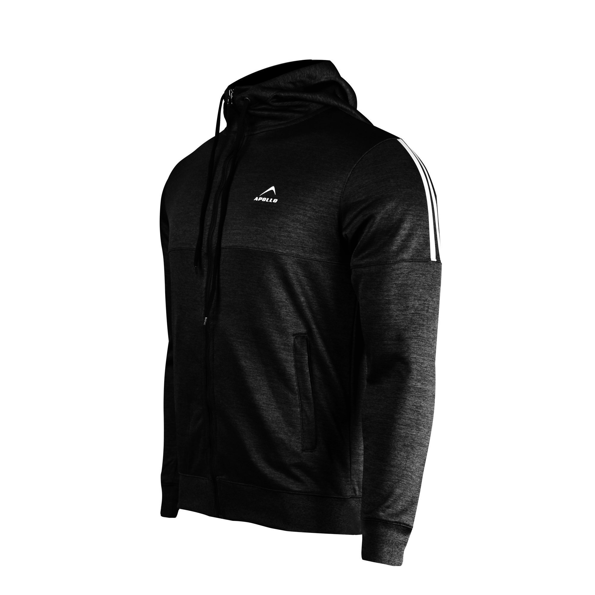 MENS SPORTS CASUAL TRAINING POLYESTER TERRY FLEECE UPPER JACKET HOODIE WINTER 19 APOLLO 93M151 - BLACK