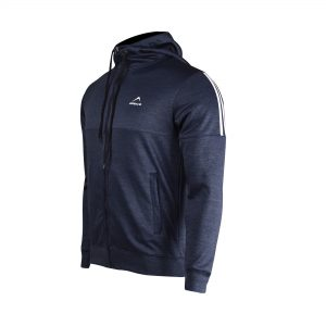 MENS SPORTS CASUAL TRAINING POLYESTER TERRY FLEECE UPPER JACKET HOODIE WINTER 19 APOLLO 93M151 - NAVY BLUE