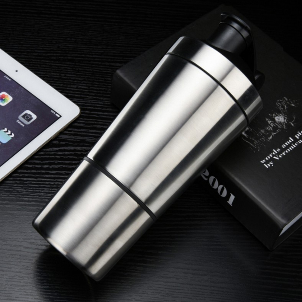 STAINLESS STEEL PROTEIN SHAKER BOTTLE WITH JAR 600ML - SILVER